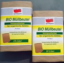 20 Bio Müllbeutel  10 L Kompostierbar  20 x 16 x 36cm Papiermüllbeutel quickpack