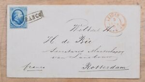 Mayfairstamps Netherlands 1867 Leiden to Rotterdam Single Franked cover wwm61015