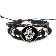 Spiritual Hand Glass Cabochon Bracelet Braided Leather Strap Bracelets
