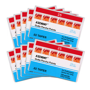 AZDENT Gutta Percha Points Zinc Oxide 0.02 25# Dental Root Canal Therapy 10Box