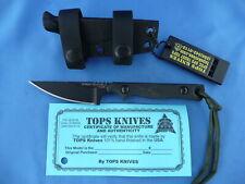 TOPS Street Scalpel 2 Knife Canvas Micarta 1095 Carbon Steel Kydex Sheath USA