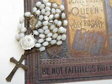 1920s Antique Faceted White Glass Beads Rosary in Silvered Brass-Medal 'ROMA'