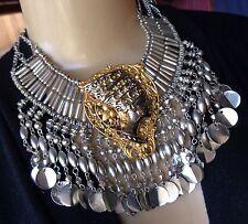 Vintage Necklace Huge Egyptian Queen Nefertiti Pendant Wide Coin Collar