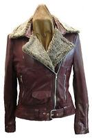 Ladies Red Biker Style Retro Real Lambskin Leather Sheepskin Jacket (8 - 20)