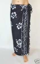 NEW BLACK & WHITE SARONG BEACH POOL WRAP COVER UP PAREO FLOWER DESIGN / sa174