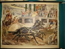 Lehrkarte Rollkarte Pferderennen zur Zeit der Antike , Wagenrennen , auf Leinen