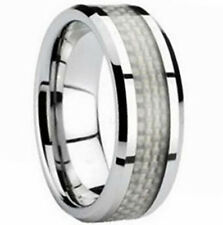 TUNGSTEN CARBIDE Ring with White Carbon Fiber Band, size 11 - NEW - in Gift Box