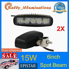 2X 6INCH 15W LED WORK LIGHT BAR SPOT OFFROAD DRIVING 4WD LAMP ATV UTE 12V24V 4X4