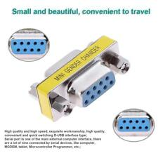 Mini RS232 DB9 9-Pin Female to Female Serial D-USB Connector Adapter Converter