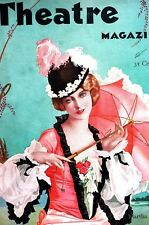 Alberto Vargas Cover 1930 MARTHA LORBER w PARASOL Theater Magazine Matted Cover