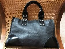 Russell & Bromley Black Textured Leather & Patent Tote Shoulder Womens Bag VGC