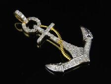 Per Uomo Gialla Finitura Oro Diamante Autentico Ancora Ankh Pendente A Croce