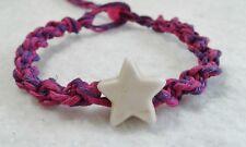 Star Bead Hemp Bracelet Pink & Purple Friendship Handmade Surfer Boho