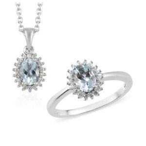 1.99 ctw Espirito Santo Aquamarine & Zircon Ring & Necklace Set in Platinum Over