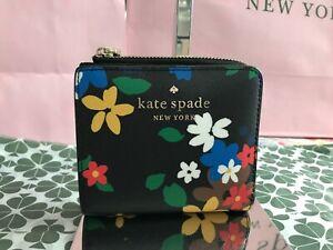 Kate Spade Staci Cameron Sailing Floral Small L-Zip Bifold Wallet Black/Multi