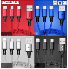 UK 3 in 1 Multi USB Phone Charger Charging Sync Braided Cable For iPhone Android