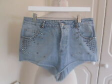 VGC MOTO @ TOPSHOP BLUE DENIM STUD TRIM DENIM SHORTS SIZE 34 WAIST UK 16