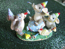 Fitz &Floyd Charming Tails Birthday Party Animals Squirrel Mouse Rabbit Figurine