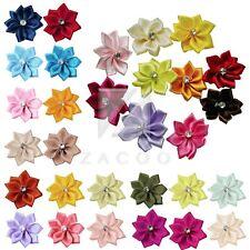 10pcs Satin Ribbon Rose Flower Appliques Rhinestone Craft Wedding Decor MGRN34