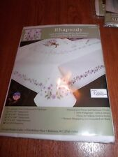 "Tobin Stamped Cross Stitch Embroidery 4 Napkins RHAPSODY 17"" Pack of 4"