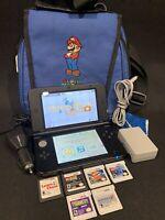 Nintendo 3DS XL Blue Bundle Games Mario Cart Chargeres Stylus Memory Card Case