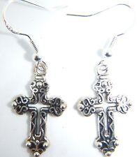 Tibetan Silver Gothic Cross Earrings On Sterling silver Hooks Organza Gift Bag