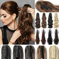 Ombre Clip In Ponytail Pony Tail Hair Extension Claw On Wavy Straight as real US