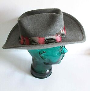 Vintage Gray Wool Cowboy Hat Lancaster Hat Co Feathered wire in brim USA FREE SH