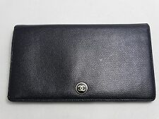 US SELLER Authentic CHANEL LONG WALLET BLACK LEATHER COCO BUTTON ITALY