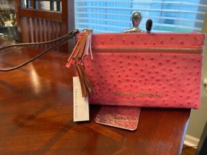 Dooney & Bourke Pink Ostrich Emb Leather Zip Clutch Style Wallet WO0174 HP