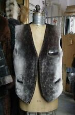 BRAND NEW CANADIAN SHEARED BEAVER ARCTIC FUR W LEATHER VEST JACKET MEN MAN SZALL