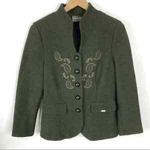Geiger Boiled Wool Green Button Blazer Jacket 38