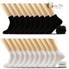 6 12 Pairs Mens Women Black White Cotton Sports Low Cut Ankle Quarter Thin Socks