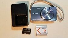 Sony Cyber-shot DSC-W570 16.1MP Digital Camera Silver Battery Charger 4gb SD