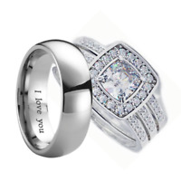Couple Rings Set - Titanium and 925 Sterling Silver Wedding Engagement Ring Set