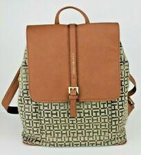 Tommy Hilfiger Brown Large Backpack Jacquard Signature TH Logo Bag NWT $98 MSRP