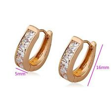 Elegant 18k GP ct Gold Plated Rose Gold Hoops Earring with white zircon cluster