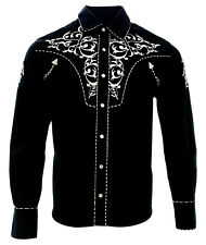 Cowboy Shirt Camisa Vaquera Western Wear El General Long Sleeve White,Black