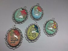 Dr Seuss Quotes Glass Pendant Charms x 5pcs Oval Mixed Image Cameo for DIY Craft