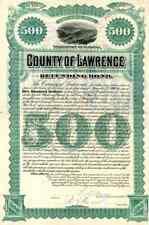 1887 County of Lawrence Bond Certificate - Dakota Territory