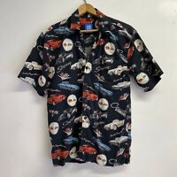 GM By David Carey Mens Medium Vintage Stingray Car Button Front Camp Shirt Black