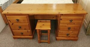 Solid Pine 6 Drawer Dressing Table with stool H73 W137 D39.5cm ideal Project