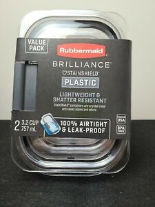 Rubbermaid Brilliance Food Storage Container, Medium, 3.2 Cup, Clear, 2-Pack ...