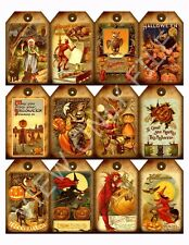 12 Primitive Grungy Halloween Hang Tags Scrapbooking Paper Crafts (20)