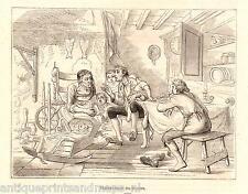 Antique print Ichabod Crane telling a story 1856