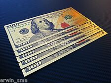 ▓▒░NEW GOLDEN $100░▒▓ 5x Gold Plated 24K Banknote $100 Dollar Bill w/ PVC Frame