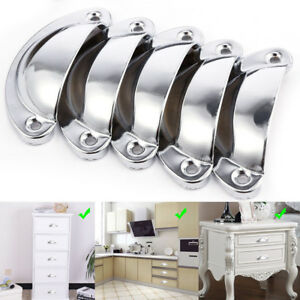 24pcs Shell Cup Handles Chrome Iron Half Moon Vintage Cupboard Drawer Pull Door