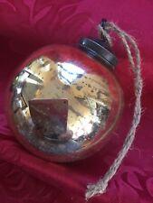 Extra Large Antique fumée Babiole 18 cm Tiko Géant Argent Mercure Verre Noël nkuku
