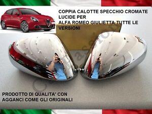 Caps Mirror Chrome Alfa Romeo Juliet Myth 159 Coat of Arms Logo Rear View