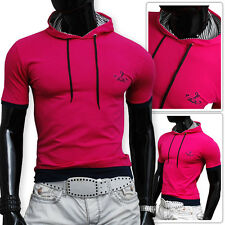Mens Hooded PINK T-Shirt Cotton Athletic Slim Fit Stretchy SALE  size Small only